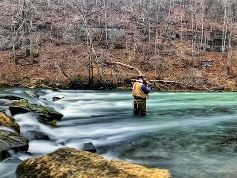 渓流釣りする人