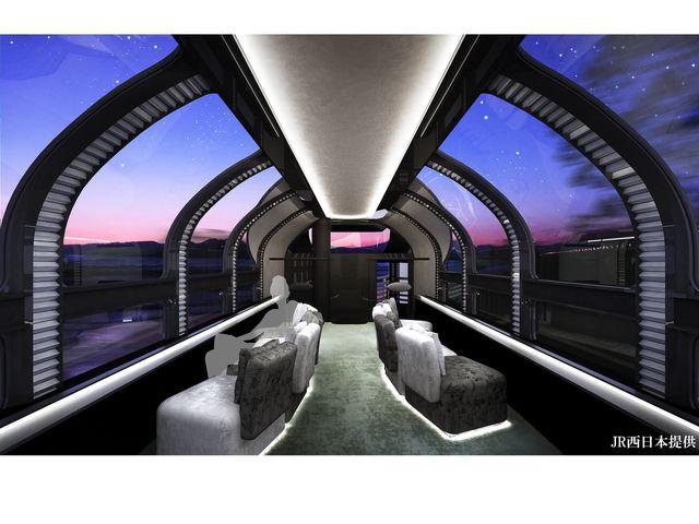 右展望車JR西日本提供 展望車は、空まで望むことができる開放的な展望室から雄大な車窓を楽しむこと