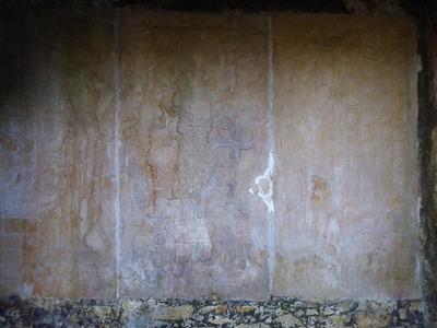 パレンケ (36) 十字架の神殿 煙草を吸う老人