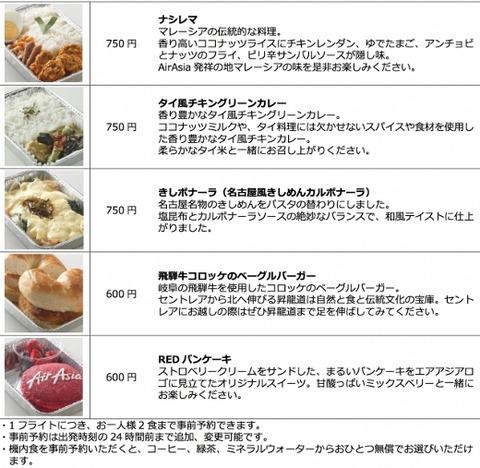 エアアジア・ジャパン 機内食メニュー