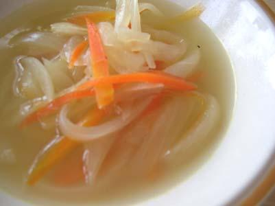 いつものご飯、野菜スープときゅうりの和え物