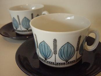 Upsala Ekeby Groblad Cup&Saucer (Blue)
