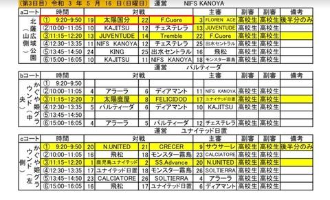 2021.鹿児島県クラブユース U-15 鹿児島県 決勝予定表4