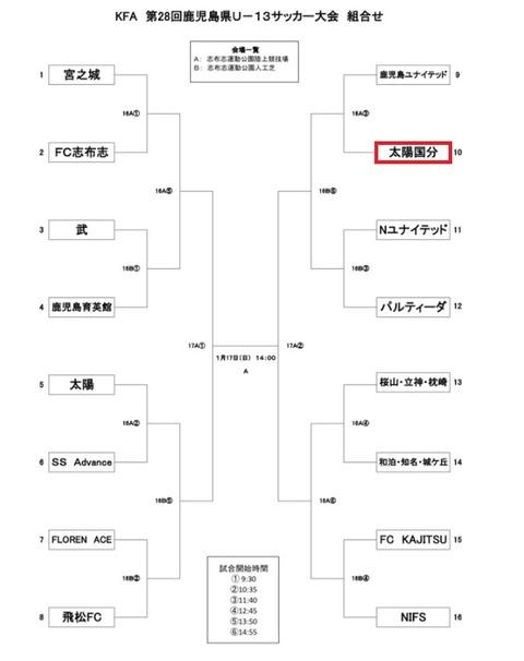 2021.01.16 U-13 KFA  第28回鹿児島県U-13サッカー大会 組合せ2