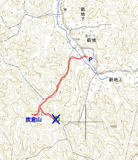 炭倉山登山ルート図
