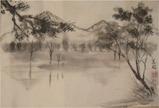趣味の水墨画 上高地 大正池 画像