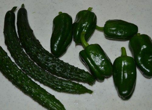 ベランダ菜園のキューリとピーマンの収穫