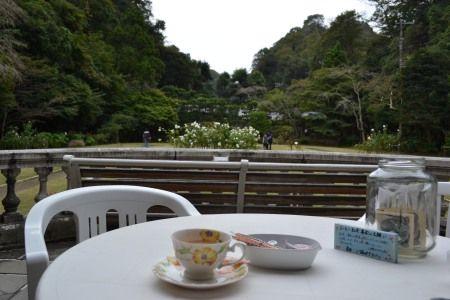 鎌倉 旧華頂宮邸 秋の施設公開 一階のテラスでコーヒーや紅茶