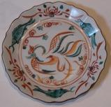 九谷の鳳凰絵付けの皿