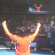 全豪オープンテニス4回戦で錦織圭がツォンガを破る
