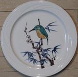 九谷の絵付け大皿 カワセミ