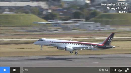 MRJ(三菱リージョナルジェット)の国産旅客機が初飛行に成功 離陸