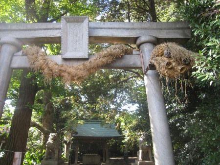 奥沢神社 鳥居 藁の大蛇