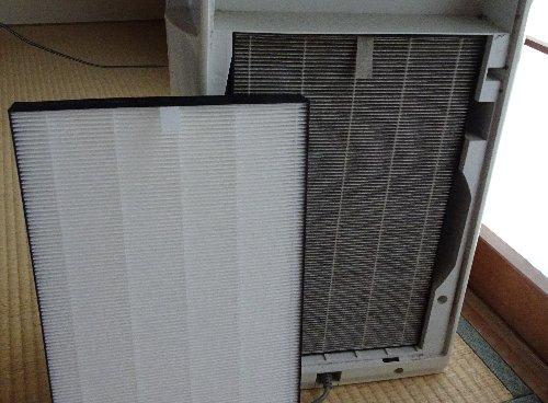 シャープの空気清浄機「高濃度プラズマクラスター7000」用の集じんフィルターをネットで購入し、交換