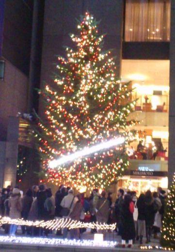 銀座4丁目のミキモトのクリスマスツリー
