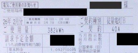 電気料金の請求書 従量電灯B 40アンペア
