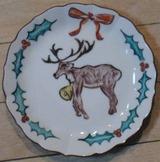 九谷の絵付け小皿 クリスマス用