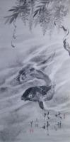 水墨画 鯉に藤