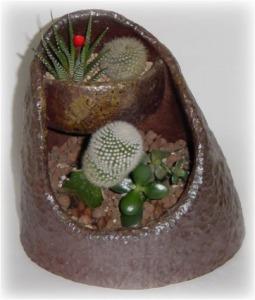 趣味の陶芸作品 植木鉢 室内用