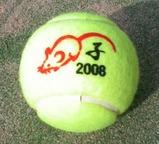 子年の干支を印刷したテニスボール