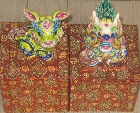台湾土産 兎と来年の龍の干支の陶器