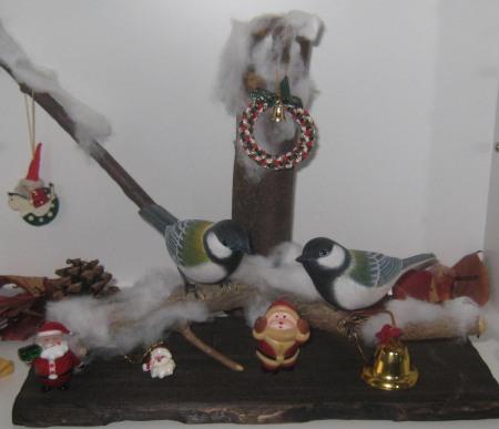 バードカービングの四十雀もクリスマス