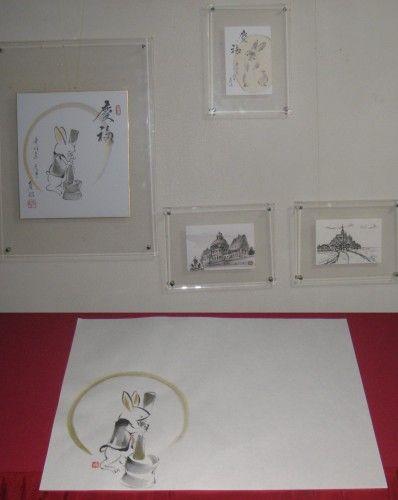 干支の兎年の色紙とランチョンマットで、お正月の模様替え