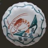九谷の絵付け小皿 手ナガエビとハス