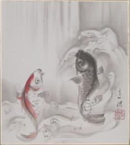 夫婦の鯉の滝登り