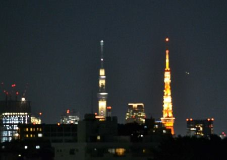 奥沢から東京タワーとスカイツリーが同じ高さに見えました 夜ライトアップ
