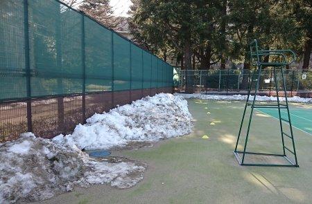駒沢公園テニスコートの雪
