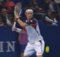 スイスのバゼルのインドアテニス大会で錦織圭が準々決勝に勝利