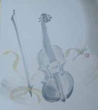 水墨画 バイオリン