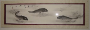 鯉の水墨画 パネル