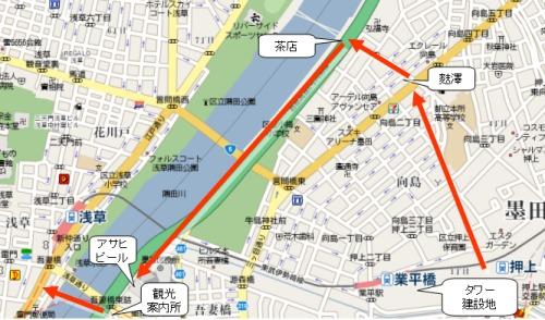隅田川の桜、向島芸者の茶店見物マップ