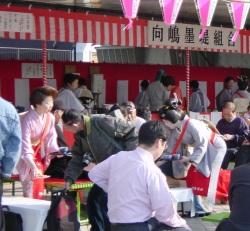 墨田川、桜祭りの茶屋