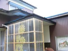 新潟県三条市屋根外壁リフォーム専門店 遠藤組 玄関雨樋取付