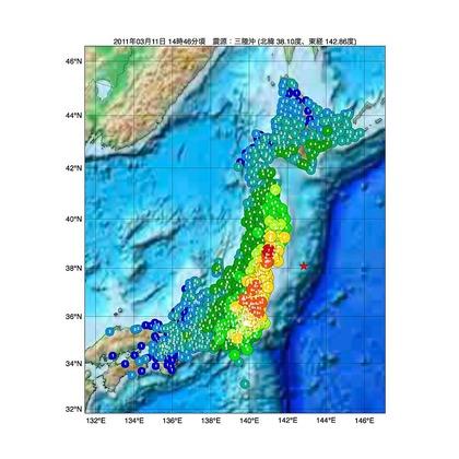 東日本大震災の震源マップ