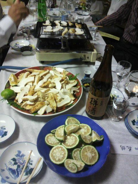 樽酒と松茸と実生の柚子