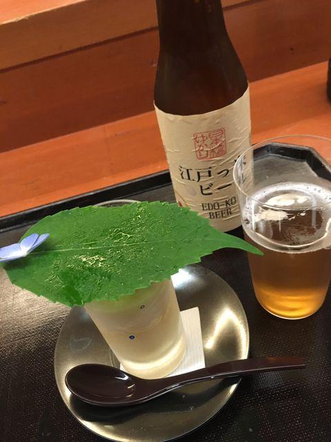 写真5 江戸っ米ビールとつきだし
