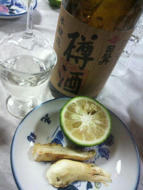 樽酒と焼き松茸
