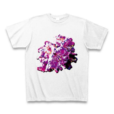 鮮やかなイラストチックな花のTシャツ