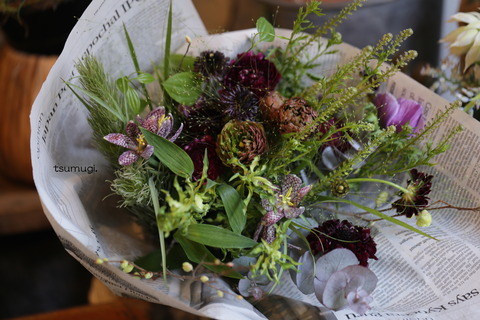 ご注文のお花とドライのリース