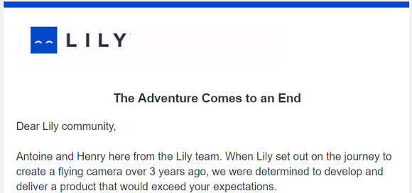 Lily Camera The Adventure Comes to an End