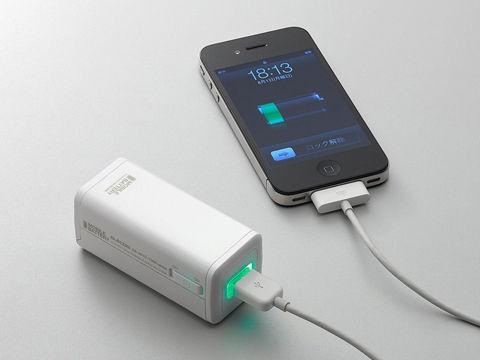 単3乾電池でiPhone4充電