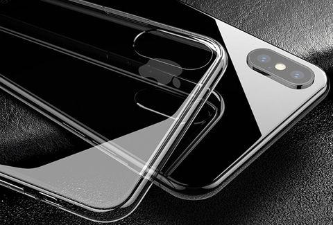iPhone XS ケース 背面9H硬度強化ガラスTPUハイブリッド