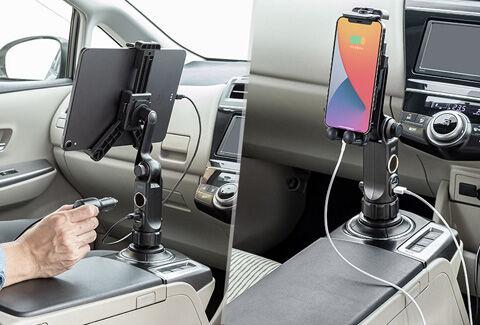 タブレット車載ホルダー シガーソケット USB充電 200-CAR093