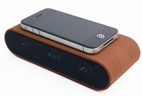 【iPhoneをただ『置く』だけで使えるスピーカー!】おもしろいスピーカー(木目) DB-SP12-WO