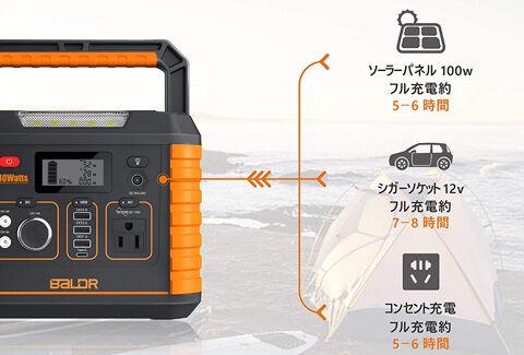 BALDR ポータブル電源330W 大容量 82500mAh 288Wh