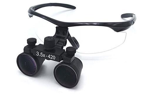 双眼ルーペ 3.5X拡大鏡+LED ライト+アルミケース